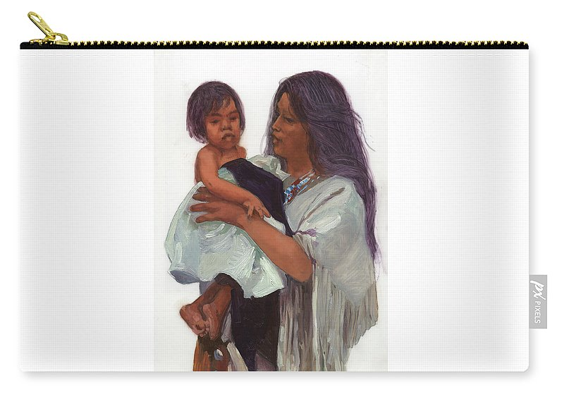 Miniatures Carry-all Pouch featuring the painting Wakin Up Sacajawea And Pomp by Betty Jean Billups
