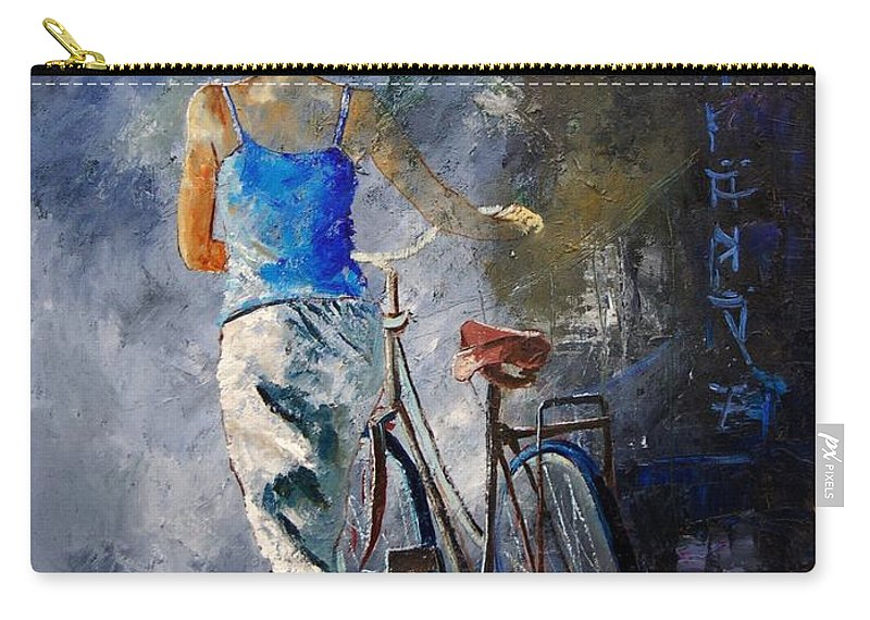 Girl Carry-all Pouch featuring the painting Waking Aside Her Bike 68 by Pol Ledent