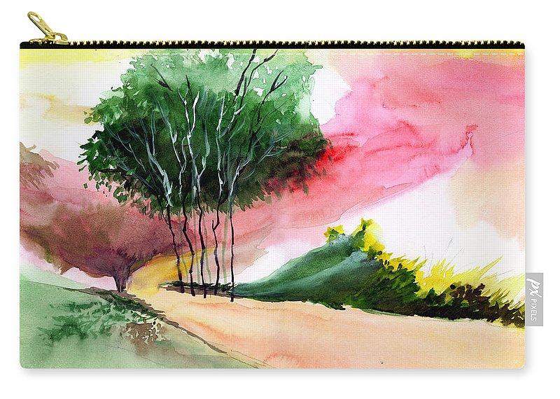 Watercolor Carry-all Pouch featuring the painting Walk away by Anil Nene