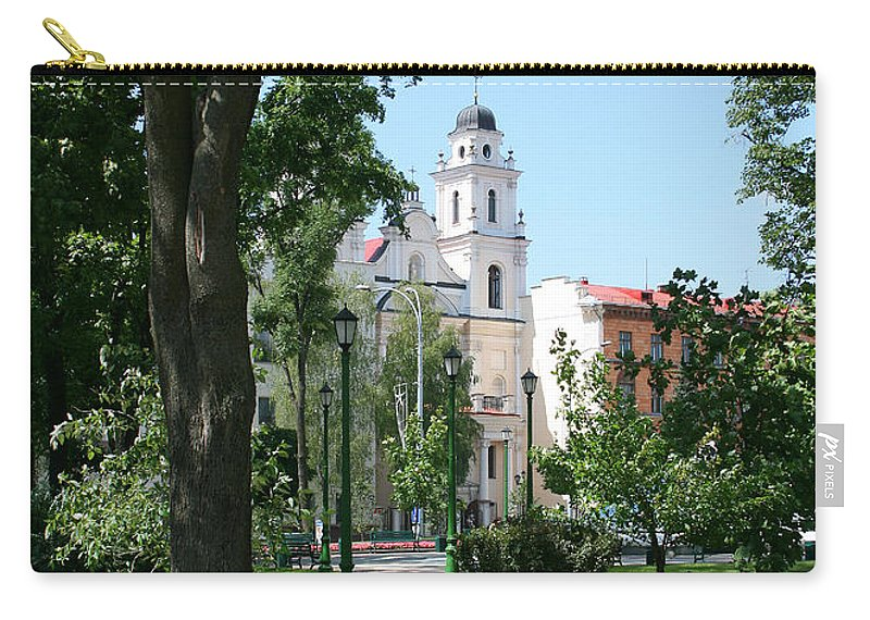 Park City Tree Trees Flowers Church Building Summer Blue Sky Green Walk Bench Carry-all Pouch featuring the photograph Walk In The Park by Andrei Shliakhau