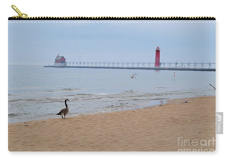 Lake Carry-all Pouch featuring the photograph Walk On Lake Michigan by Jost Houk