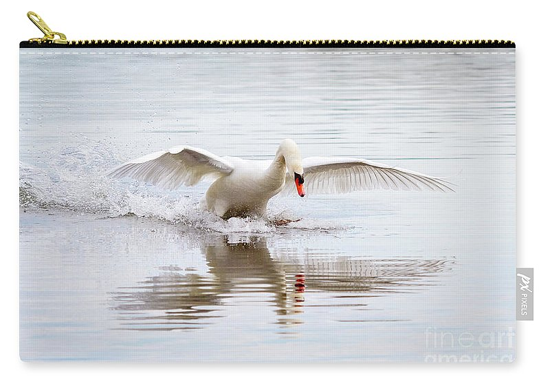 Mute Swan Carry-all Pouch featuring the photograph Walk On Water by Karen Jorstad