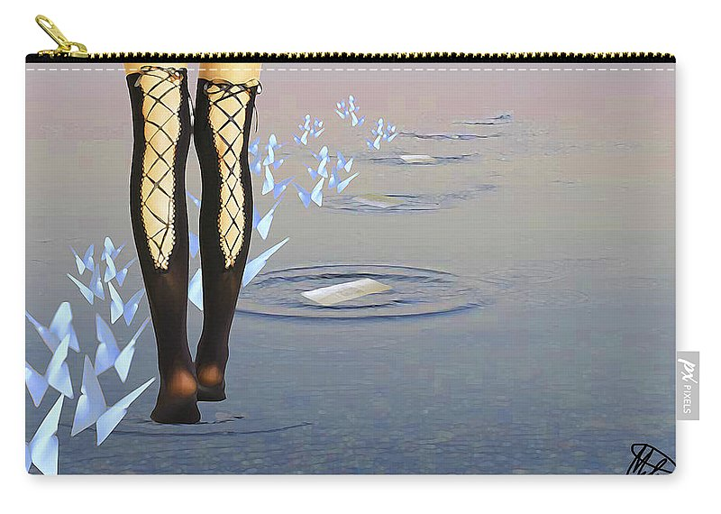Walk On Water Carry-all Pouch featuring the digital art Walk On Water by Melissa Hutchings