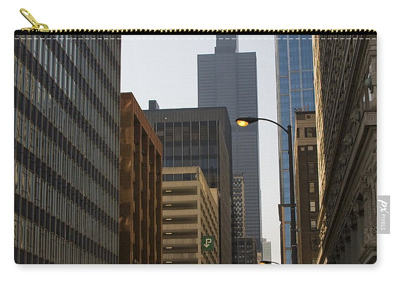 Chicago Windy City Street Trafic Car People Building Skyscraper High Tall Urban Metro Carry-all Pouch featuring the photograph Walking In Chicago by Andrei Shliakhau