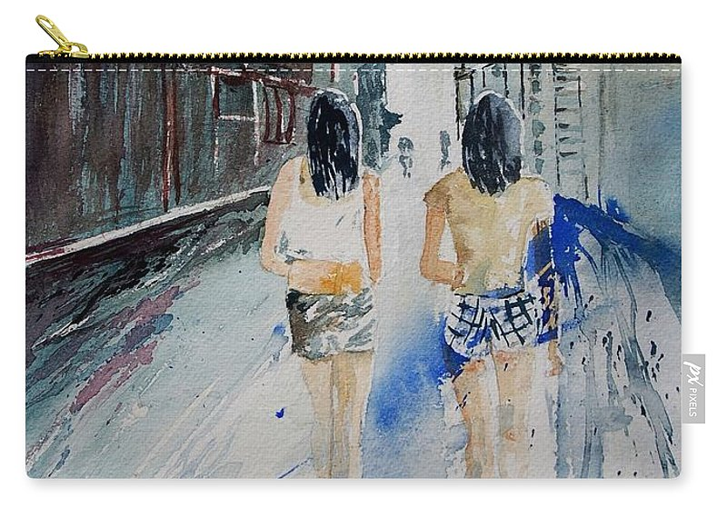 Girl Carry-all Pouch featuring the painting Walking In The Street by Pol Ledent
