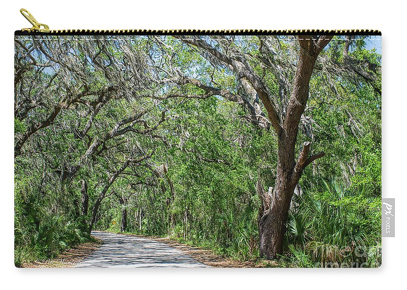Walking Carry-all Pouch featuring the photograph Walking In The Woods Of Amelia Island by Pete Wardrope