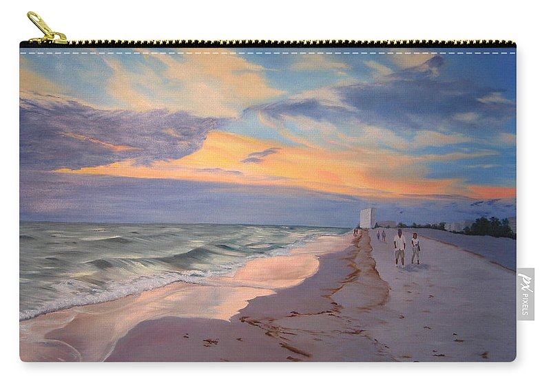 Seascape Carry-all Pouch featuring the painting Walking On The Beach At Sunset by Lea Novak