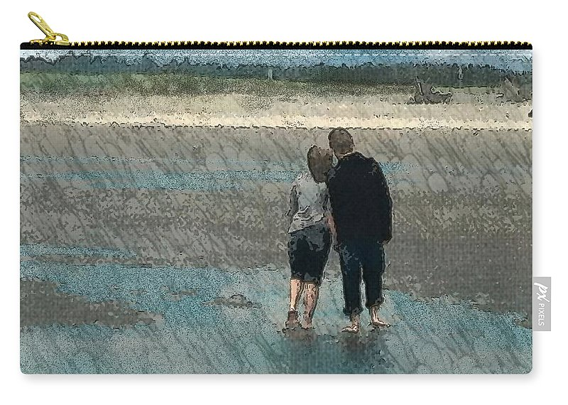 Couple Walking Carry-all Pouch featuring the photograph Walking On Water by Teresa A Lang