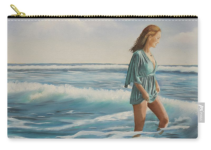 Giada Carry-all Pouch featuring the painting Walking The Surf by Marcel Quesnel