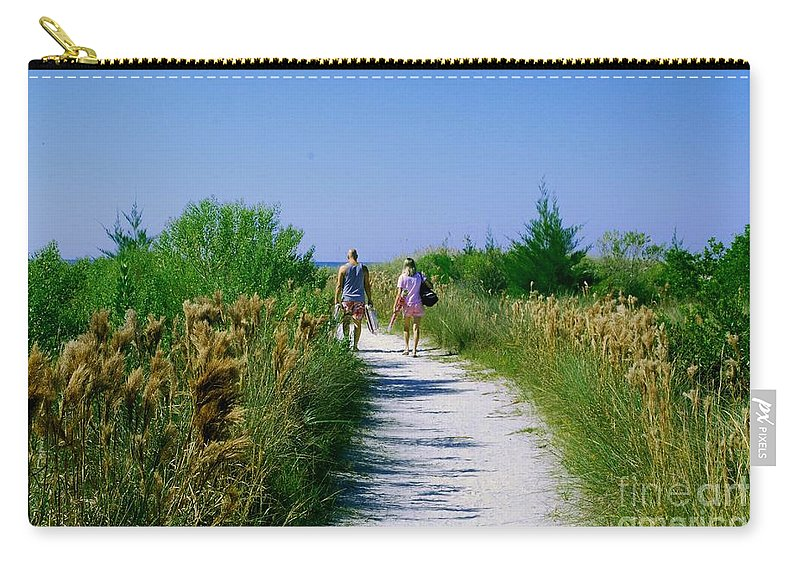 Walking Carry-all Pouch featuring the photograph Walking To The Beach by Gary Wonning