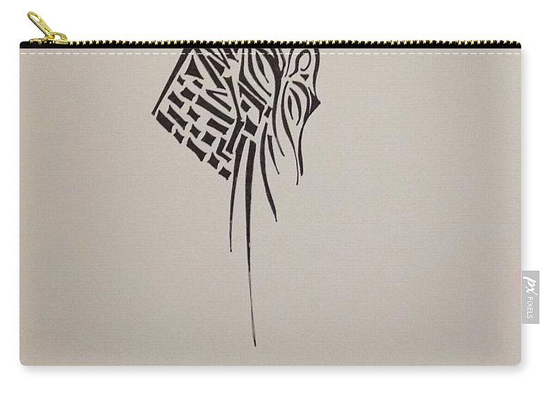 Abstract Carry-all Pouch featuring the drawing Wall by D Wood