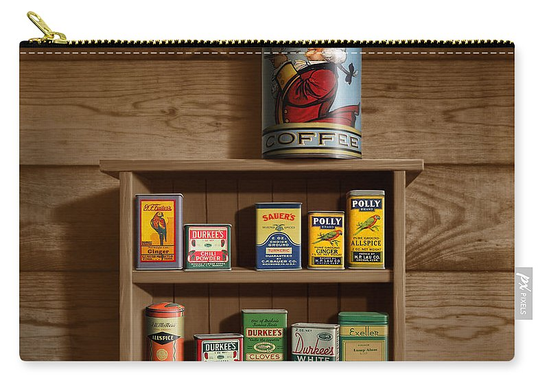 Wall Spice Rack - Americana Kitchen Art Decor - Vintage Spice Cans Tins -  Square Format Carry-all Pouch