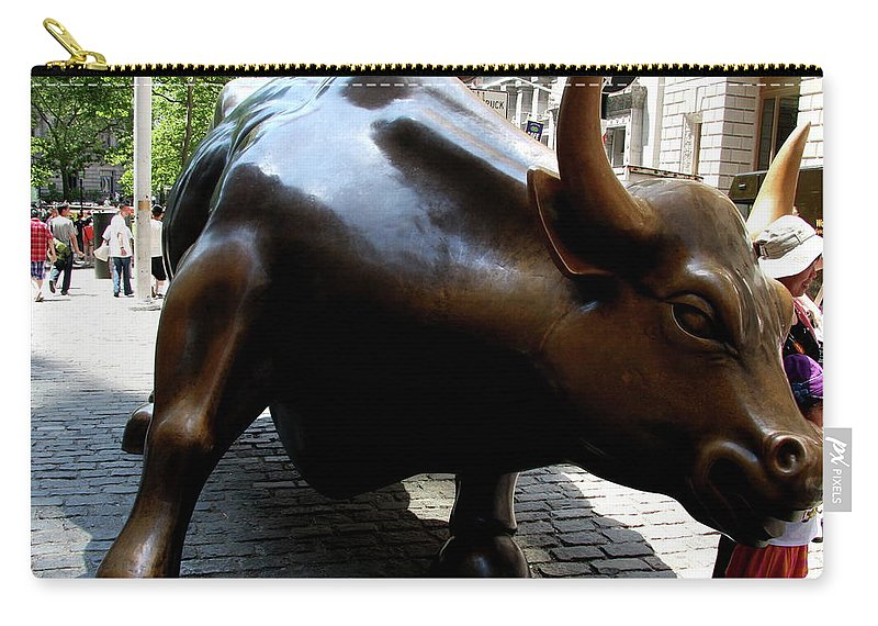 Bull Carry-all Pouch featuring the photograph Wall Street Bull by Christiane Schulze Art And Photography