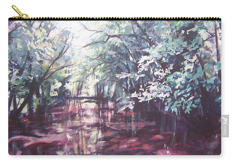 Landscape Carry-all Pouch featuring the painting Wall's Bridge Reflections by Sheila Holland