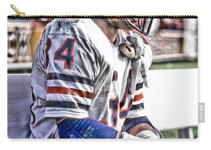 Walter Payton Carry-all Pouch featuring the mixed media Walter Payton Chicago Bears Art 2 by Joe Hamilton