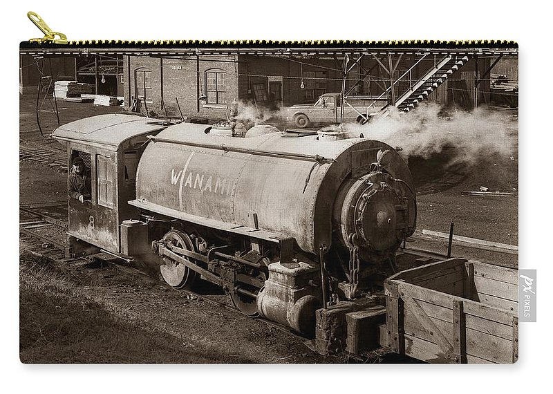 Wanamie Carry-all Pouch featuring the photograph Wanamie Pennsylvania Coal Mine Locomotive Lokey 1969... by Arthur Miller