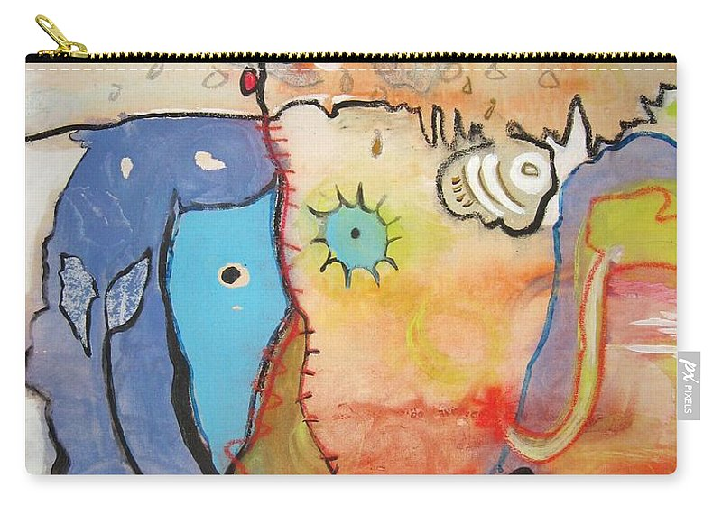 Abstract Paintings Carry-all Pouch featuring the painting Wandering In Thought by Seon-Jeong Kim