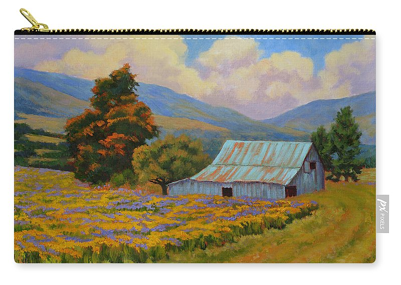 Landscape Carry-all Pouch featuring the painting Waning Summer by Keith Burgess