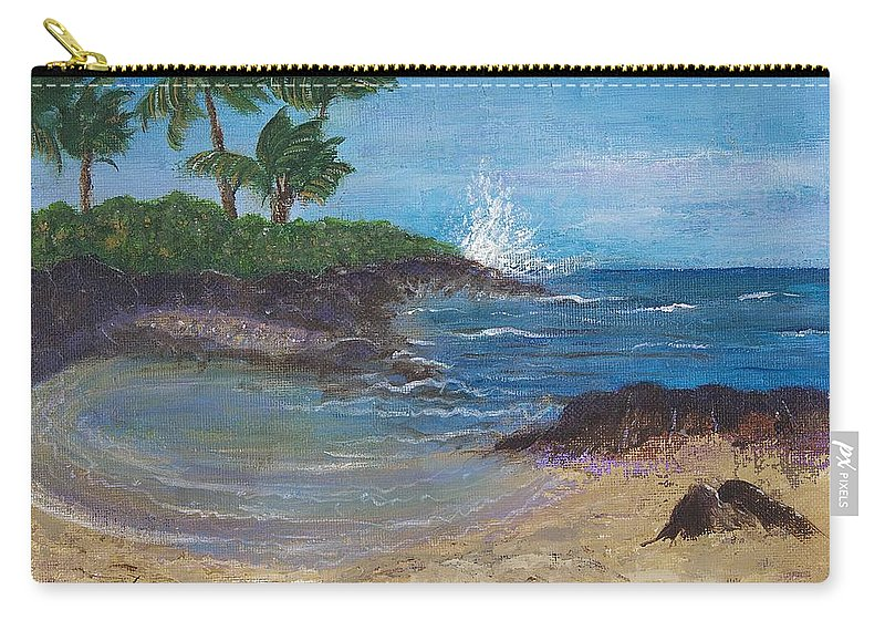 Hawaii Carry-all Pouch featuring the painting Wanna Go by Margaret Bobb