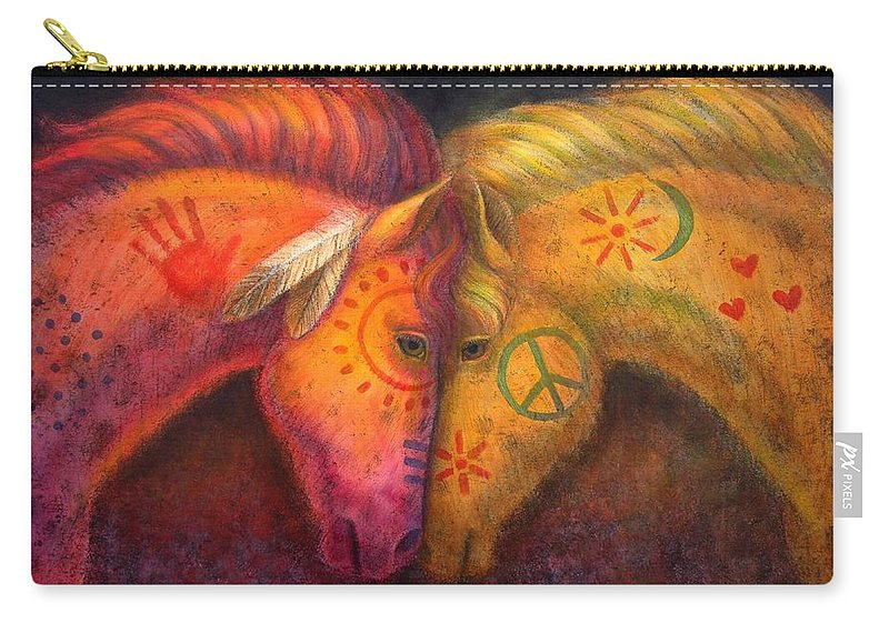 Horse Carry-all Pouch featuring the painting War Horse and Peace Horse by Sue Halstenberg