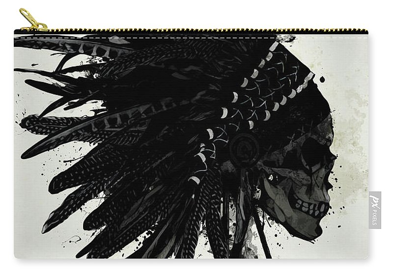 a51c80feefe Indian Carry-all Pouch featuring the digital art Warbonnet Skull by Nicklas  Gustafsson