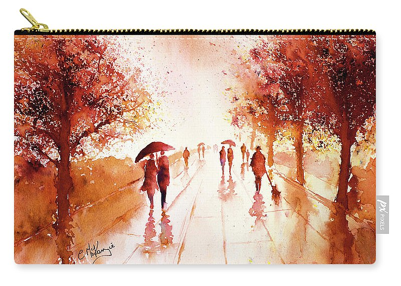 Rain Carry-all Pouch featuring the painting Warm Rain by Carrie McKenzie