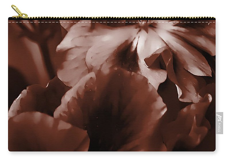 Clay Carry-all Pouch featuring the photograph Warm Tone Monochrome Floral Art by Clayton Bruster