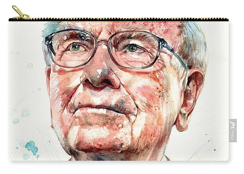 Warren Carry-all Pouch featuring the painting Warren Buffett portrait by Suzann Sines