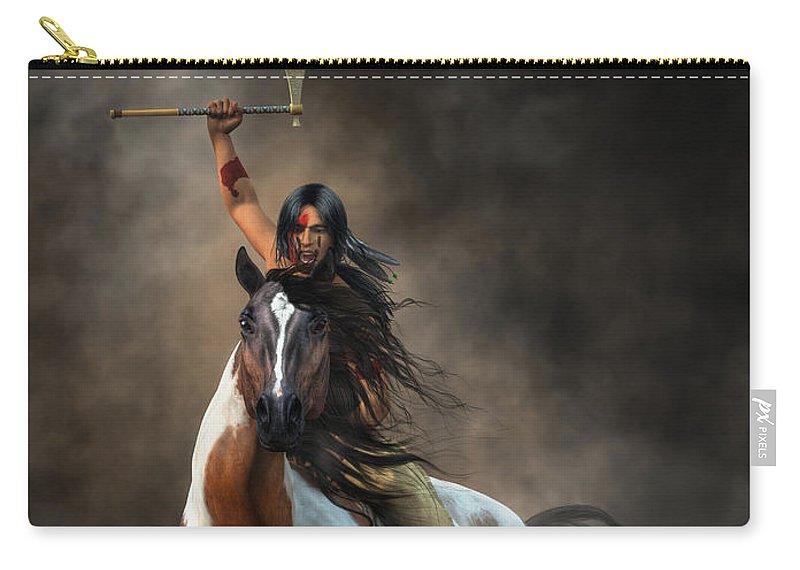 Warrior Carry-all Pouch featuring the digital art Warrior by Daniel Eskridge