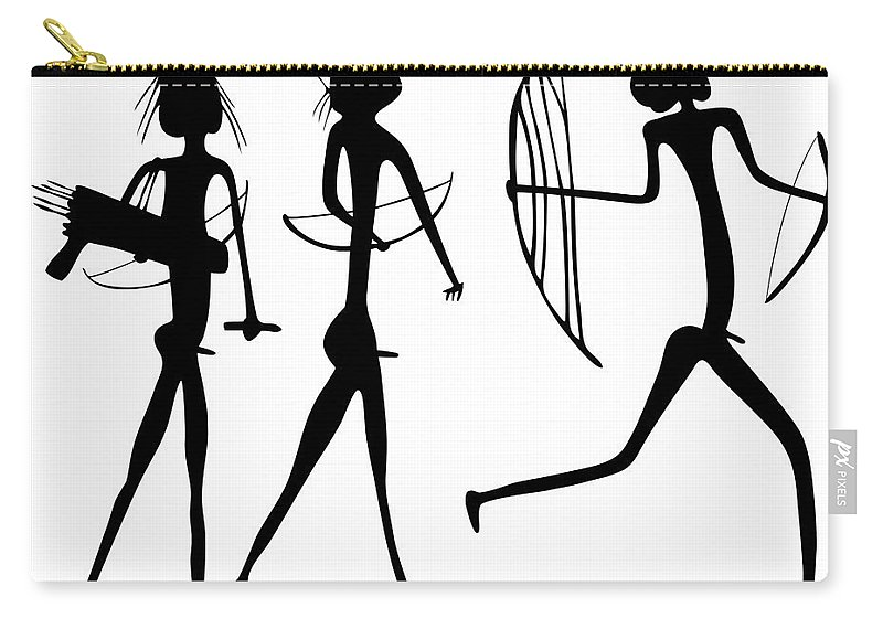 Savage Carry-all Pouch featuring the drawing Warriors - Primitive Art by Michal Boubin