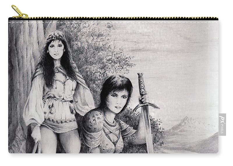 Floral Carry-all Pouch featuring the drawing Warriors by Rachel Christine Nowicki