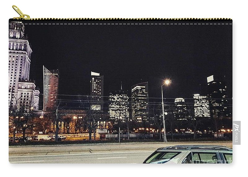 The Capital Of Poland Carry-all Pouch featuring the photograph Warsaw At Night by Christian Smochko