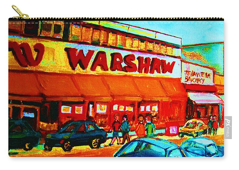 Warshaws Fruit Store Carry-all Pouch featuring the painting Warshaws Fruitstore On Main Street by Carole Spandau