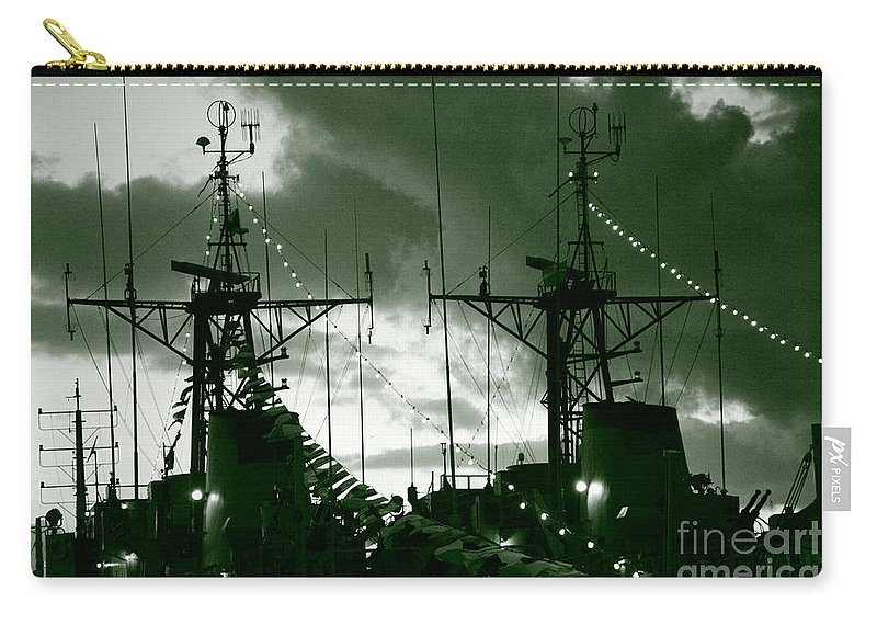 Antenna Carry-all Pouch featuring the photograph Warships At Twilight by Gaspar Avila