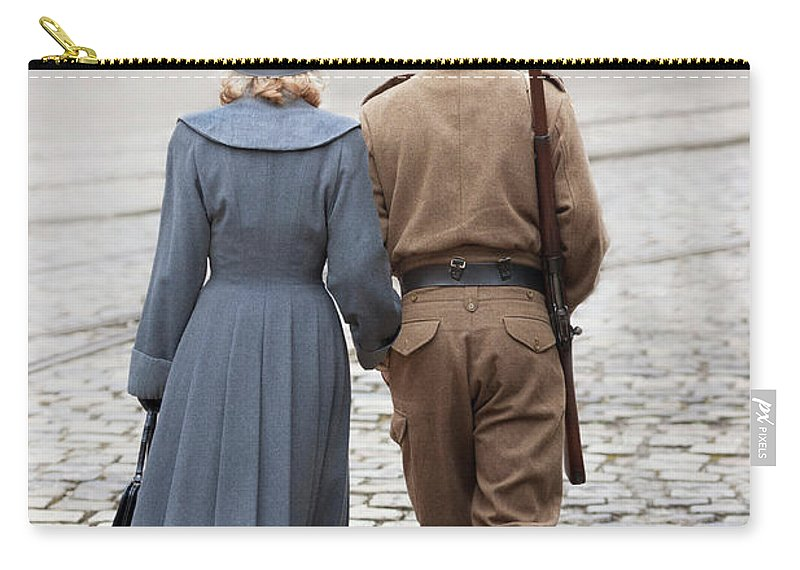 Woman Carry-all Pouch featuring the photograph Wartime Couple by Lee Avison