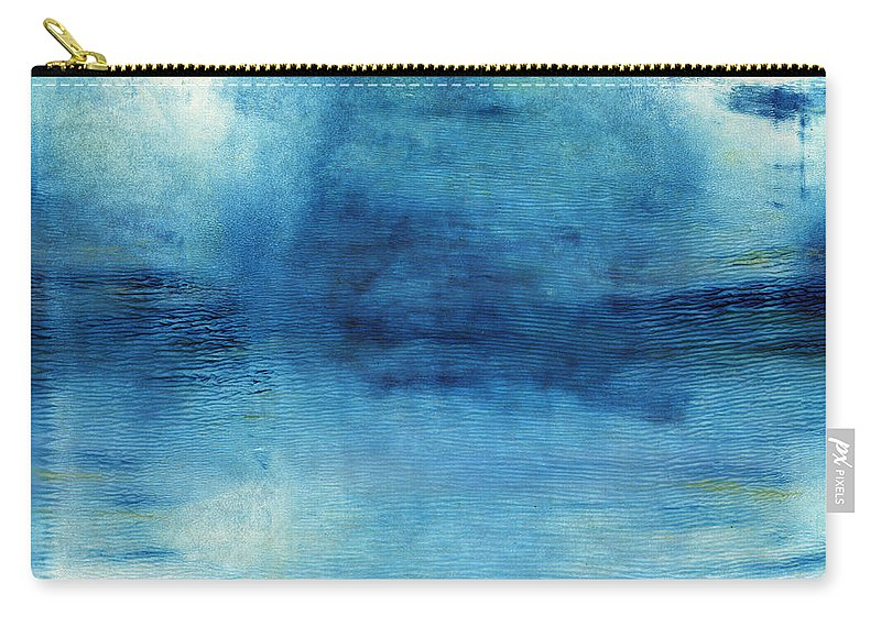 Blue Carry-all Pouch featuring the painting Wash Away- Abstract Art by Linda Woods by Linda Woods
