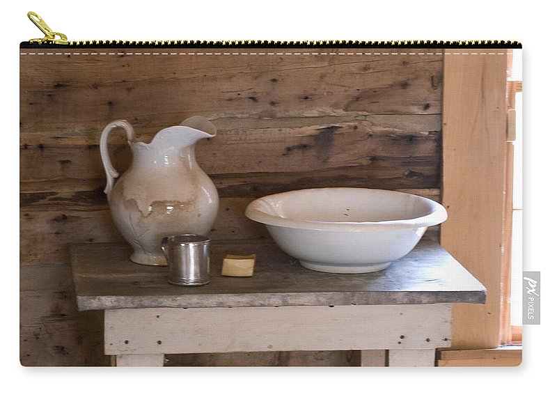 Wash Carry-all Pouch featuring the photograph Wash Bowl Pitcher And Cup by Douglas Barnett