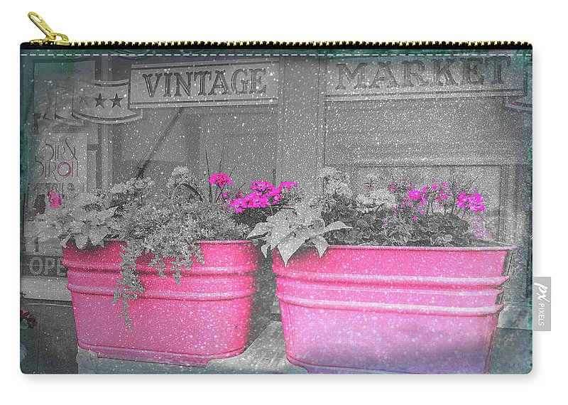 Farm Life Carry-all Pouch featuring the photograph Wash Tub Planters by Jim Love