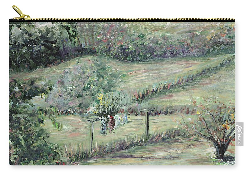Landscape Carry-all Pouch featuring the painting Washday In Provence by Nadine Rippelmeyer
