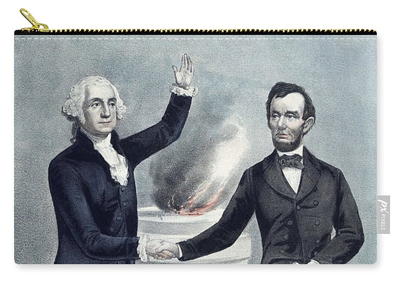 Abraham Lincoln Carry-all Pouch featuring the painting Washington And Lincoln by War Is Hell Store