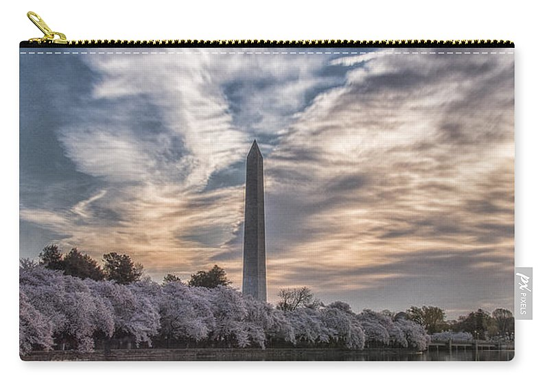 Washington Monument Carry-all Pouch featuring the photograph Washington Blossom Sunrise by Erika Fawcett