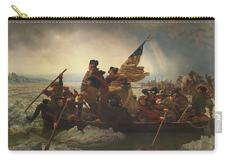 George Washington Carry-all Pouch featuring the painting Washington Crossing The Delaware by War Is Hell Store