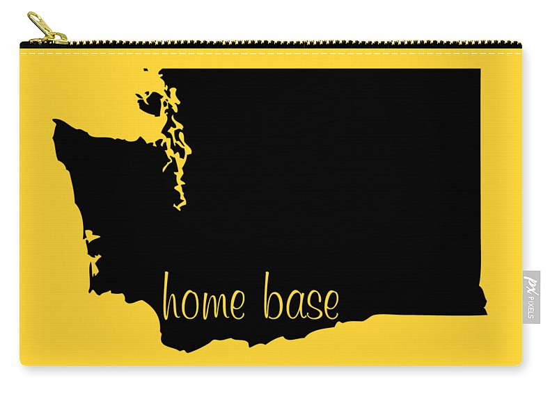 Washington Carry-all Pouch featuring the digital art Washington Is Home Base Black by Custom Home Fashions