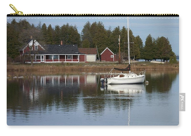Washington Island Carry-all Pouch featuring the photograph Washington Island Harbor 4 by Anita Burgermeister