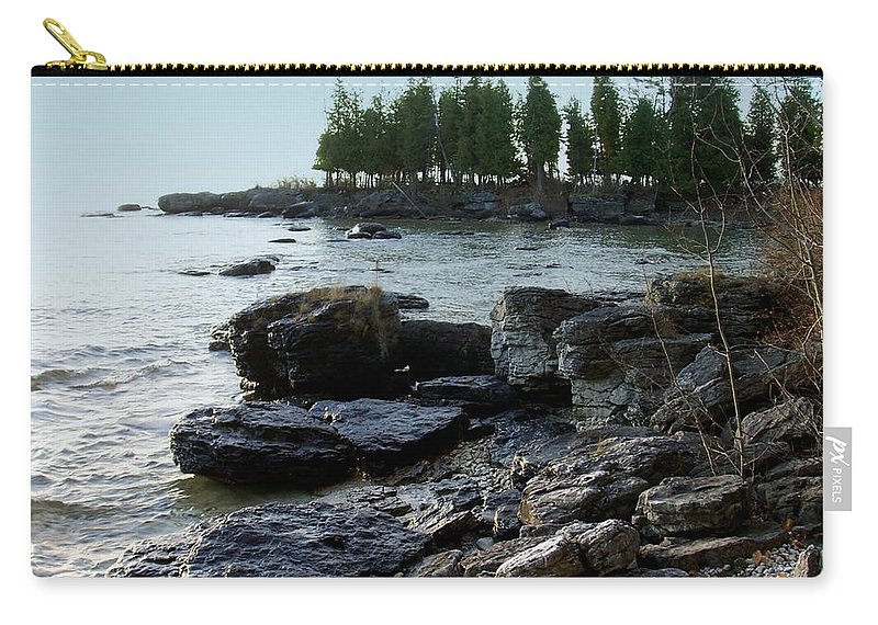Washington Island Carry-all Pouch featuring the photograph Washington Island Shore 1 by Anita Burgermeister