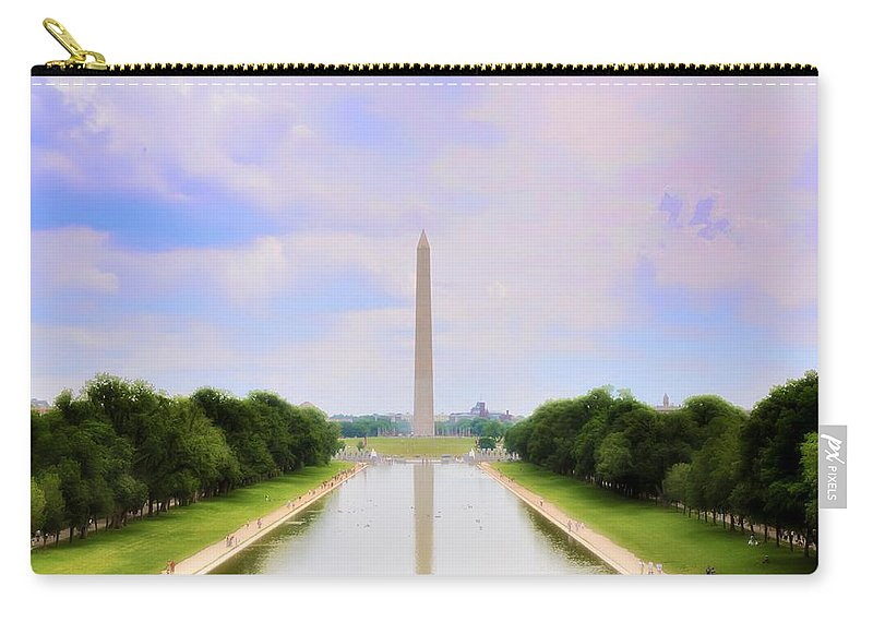 Washington Monument Carry-all Pouch featuring the photograph Washington Monument And Reflecting Pool by Bill Cannon