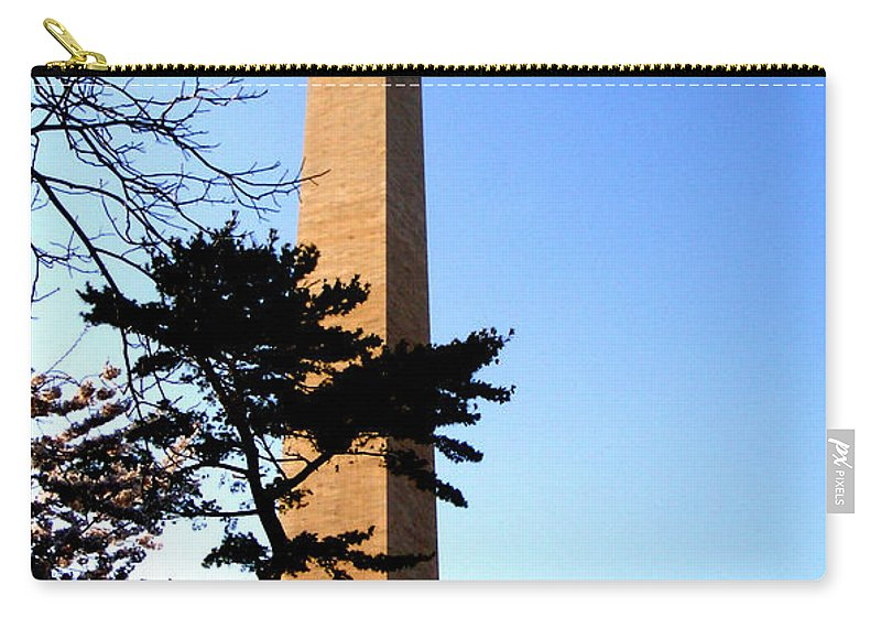 Washington Carry-all Pouch featuring the photograph Washington Monument At Dusk by Douglas Barnett