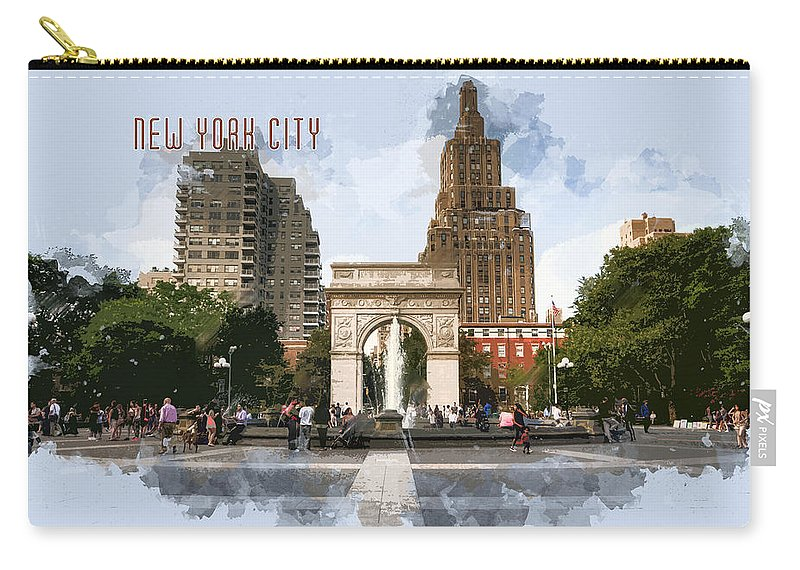 Architecture Carry-all Pouch featuring the painting Washington Square Park Greenwich Village With Text New York City by Elaine Plesser
