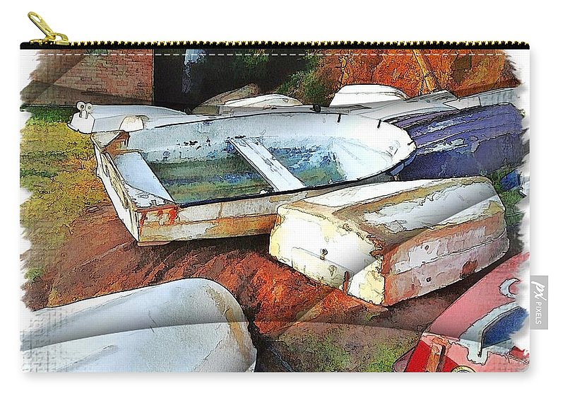 Boats Carry-all Pouch featuring the photograph Wat-0012 Tender Boats by Digital Oil