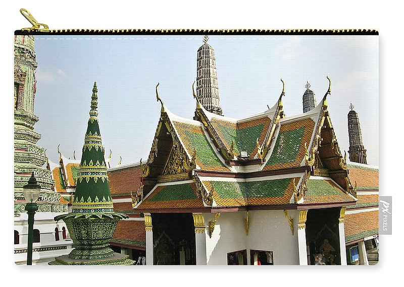 Carry-all Pouch featuring the photograph Wat Po Bangkok Thailand 14 by Douglas Barnett